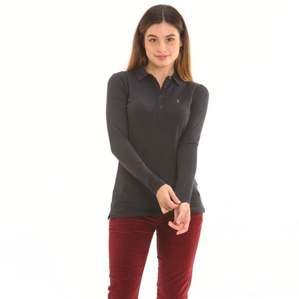 Polo femme F266 à manches longues en jersey de coton élastique