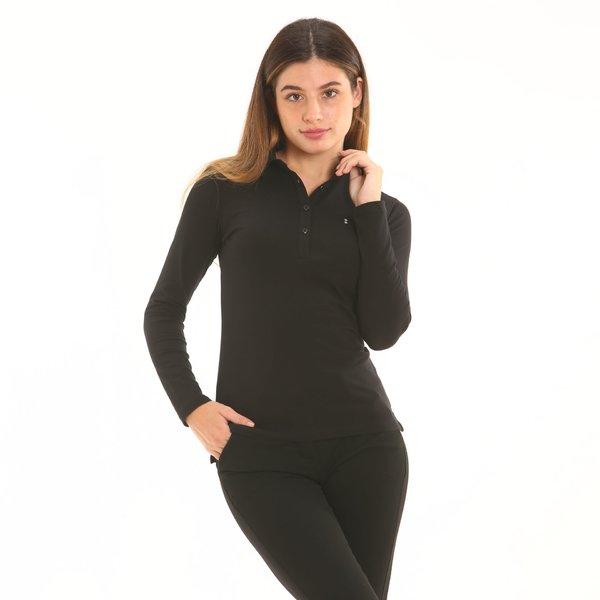 Polo mujer F266 de manga larga en punto de algodón elastizado