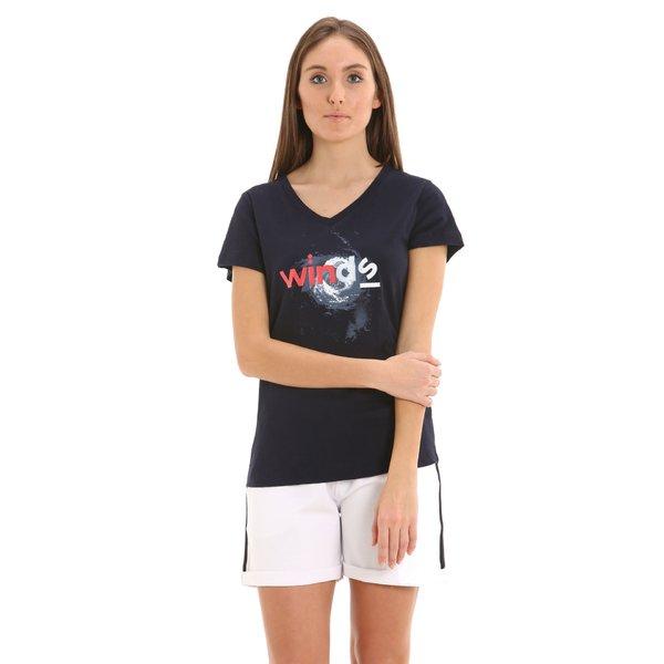 T-shirt donna E252 a manica corta con scollo a V in cotone