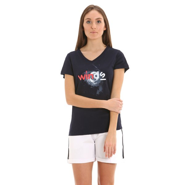 Camiseta para mujer E252 de manga corta y cuello en V en algodón
