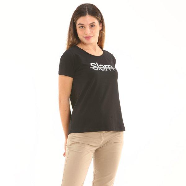 Camiseta mujer F278 de manga corta en punto de algodón
