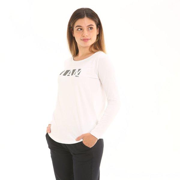 Camiseta mujer F278 de manga larga en punto de algodón