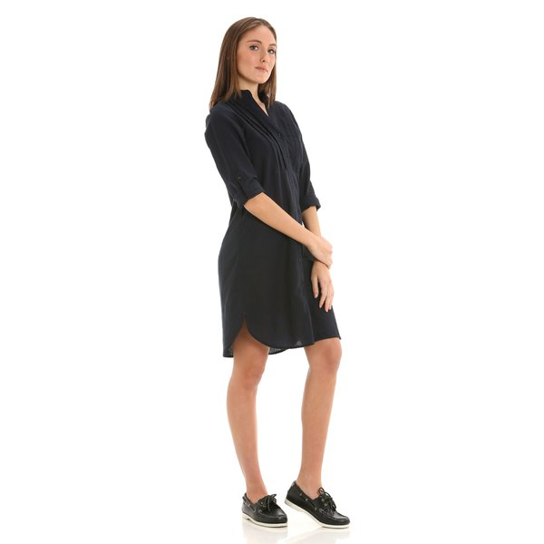 E287 women's dress in a linen-cotton blend with pleat