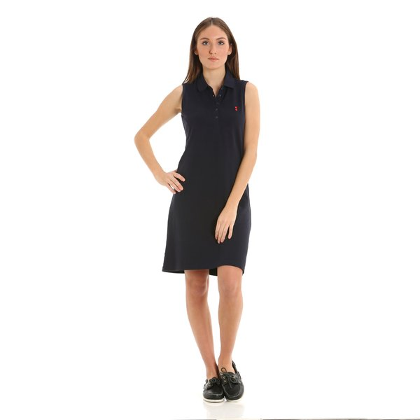 Sleeveless women's dress in 100% cotton pique E277