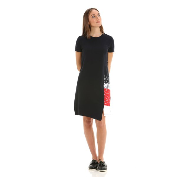 G276 women's dress in 100% cotton with block colour print