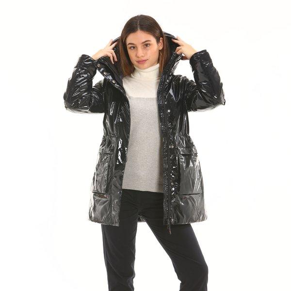 Abrigo mujer F209 con capucha en tejido brillante