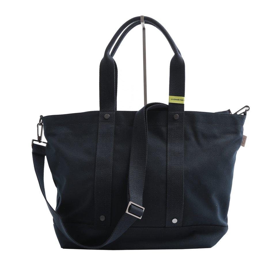 Shopping bag ECO blu con tracolla removibile e tasca imbottita porta pc/tablet