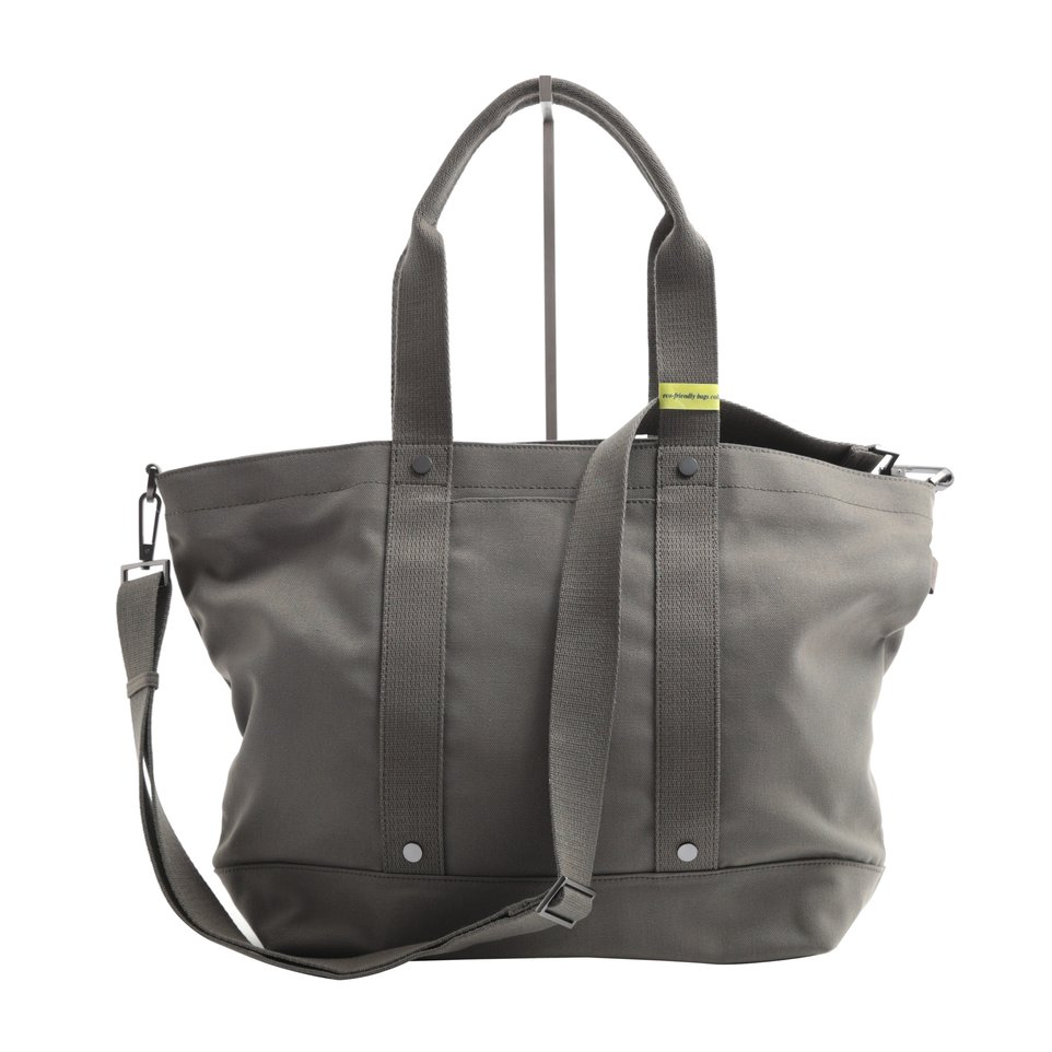 Shopping bag ECO verde con fondo resinato e tasca imbottita porta pc/tablet