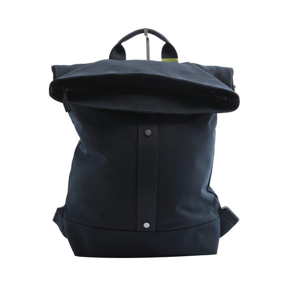 Zaino ECO blu roll-top con fondo resinato e tasca imbottita porta pc/tablet