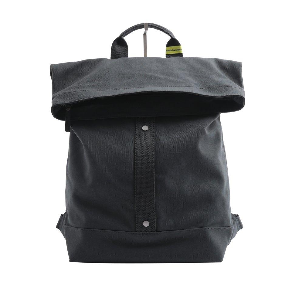 Zaino ECO antracite roll- top con fondo resinato e tasca imbottita porta pc/tablet
