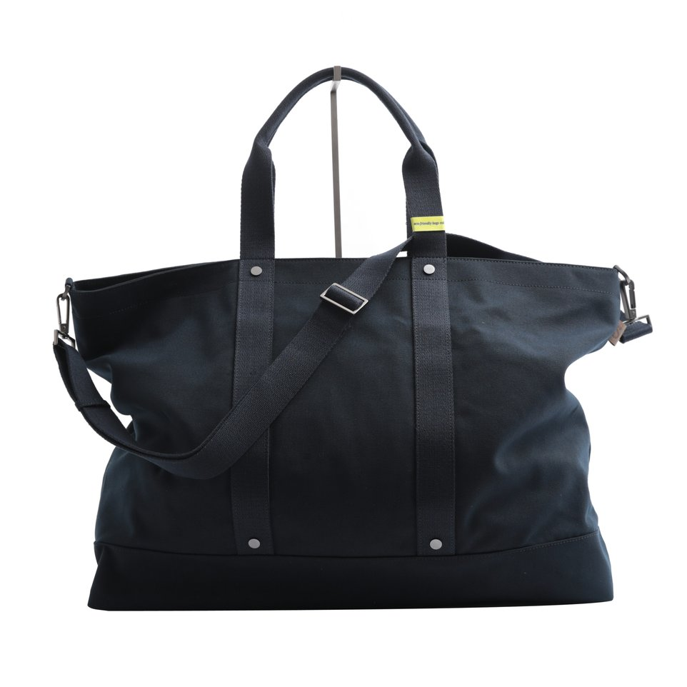 Borsa maxi ECO blu con tracolla removibile, fondo resinato  e tasca imbottita porta pc/tablet