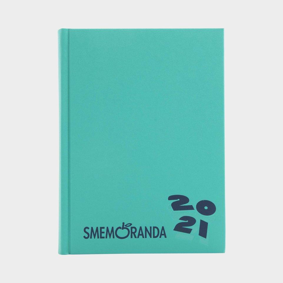 Smemoranda 16 Mesi 2021 Cm 13x17,7 Verde Logo Blu
