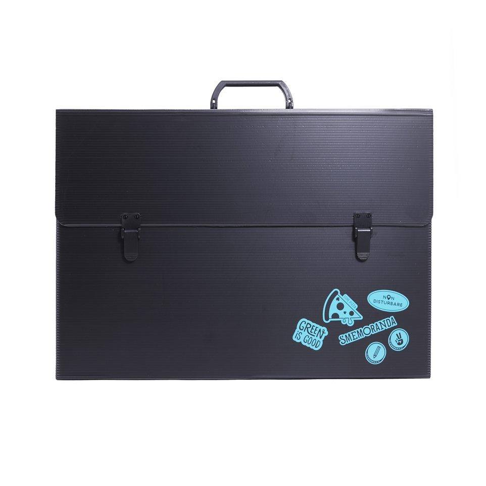 Valigetta nera portadocumenti e disegni in PPL eco personalizzata fronte e retro