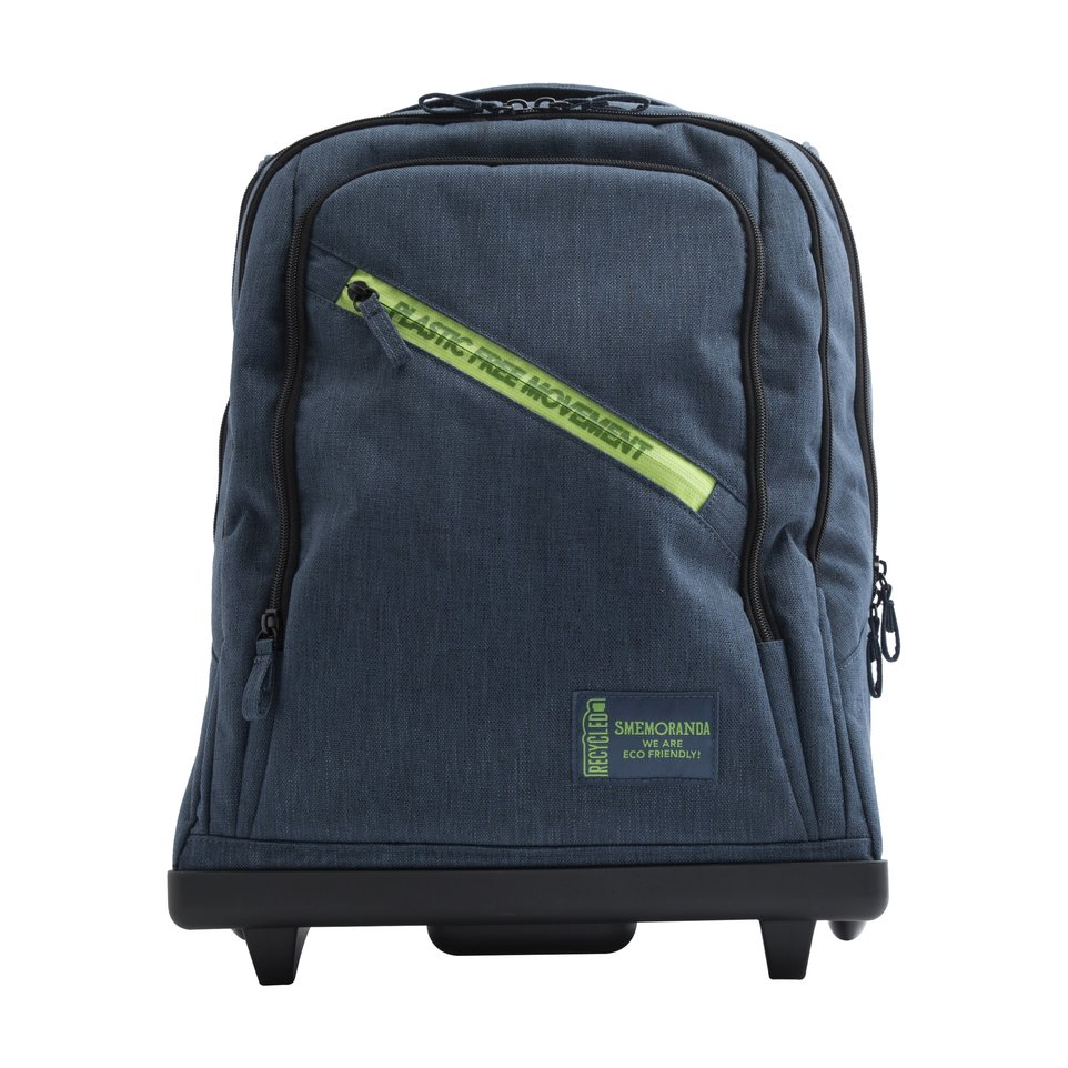 Zaino trolley ECO blu zip verde con fondo resistente