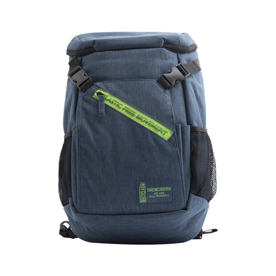 Zaino tecnico ECO blu zip verde con maxi tasca frontale, tasca interna porta pc/tablet