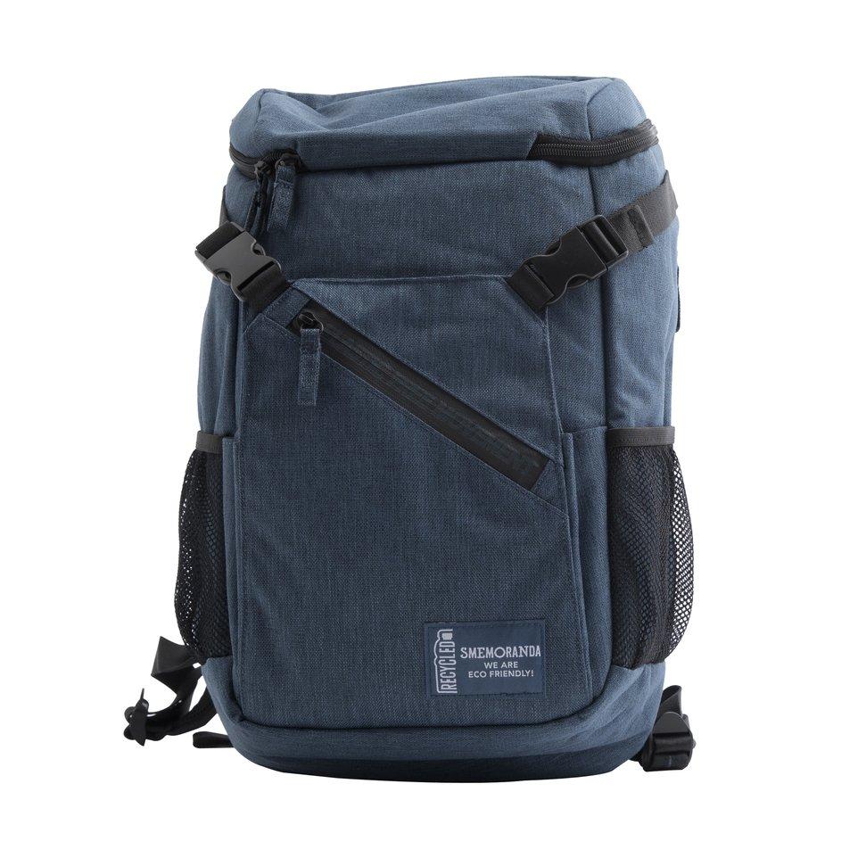 Zaino tecnico ECO blu zip nera, con apertura dall'alto, tasca interna porta pc/tablet