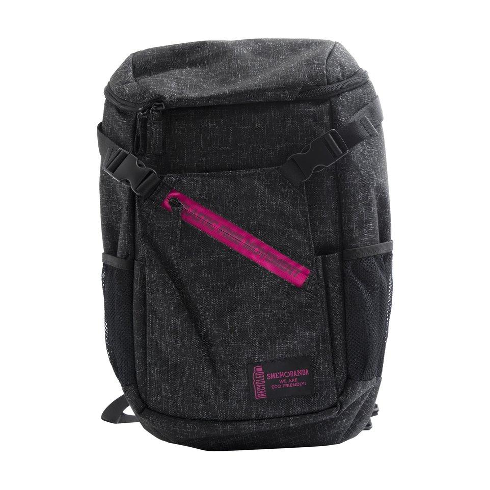 Zaino tecnico ECO nero zip fucsia con maxi tasca frontale, tasca interna porta pc/tablet