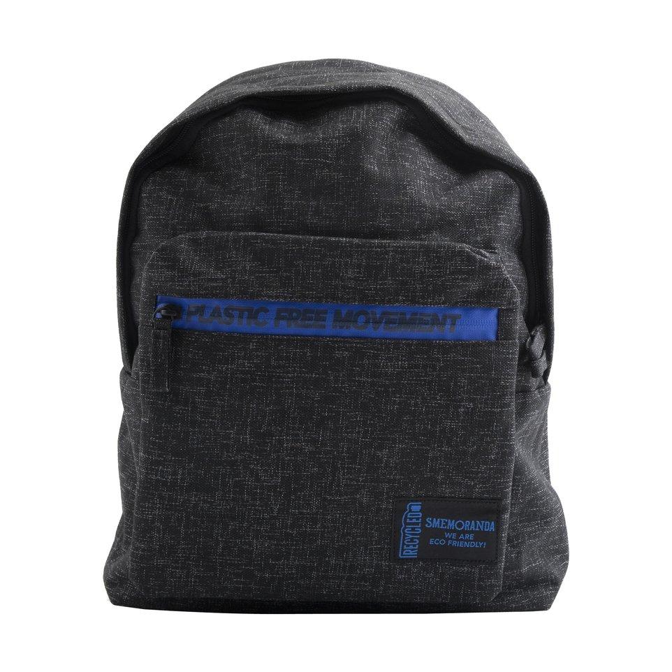 Zaino ECO nero con zip blu e tasca frontale