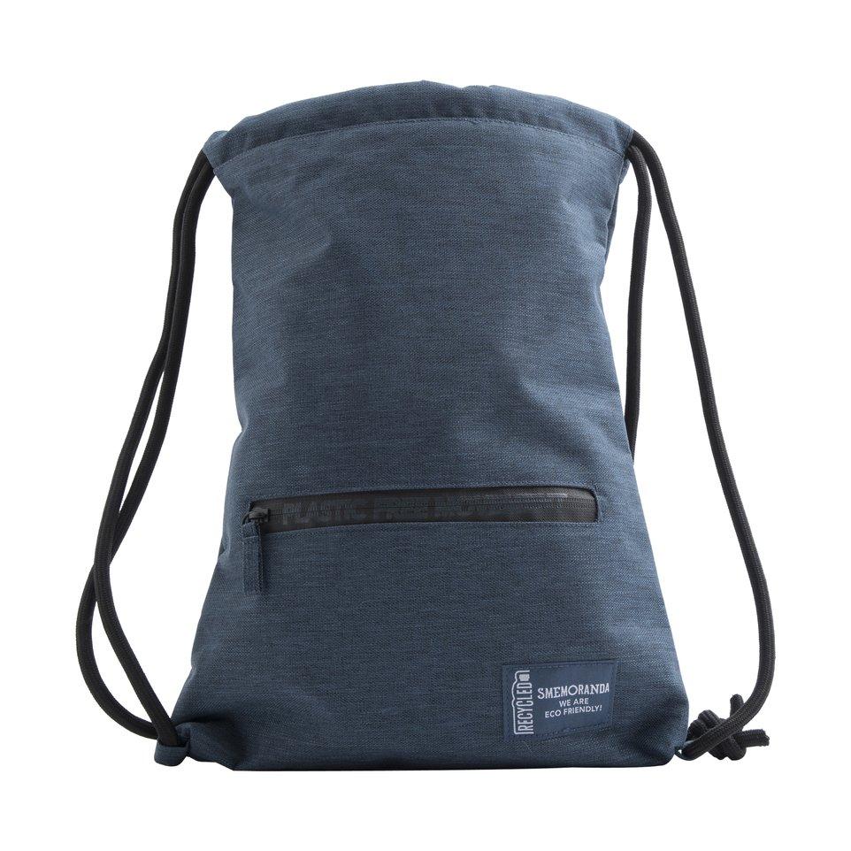 Sacchetta gym ECO blu con zip nera e cordini morbidi
