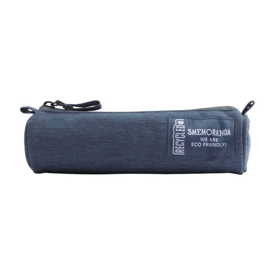 Astuccio mini ECO rotondo porta penne blu con zip nera