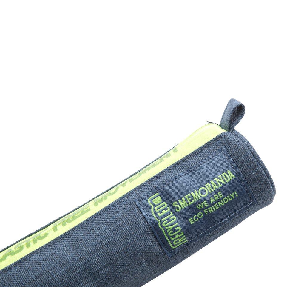 Astuccio mini ECO rotondo porta penne blu con zip verde