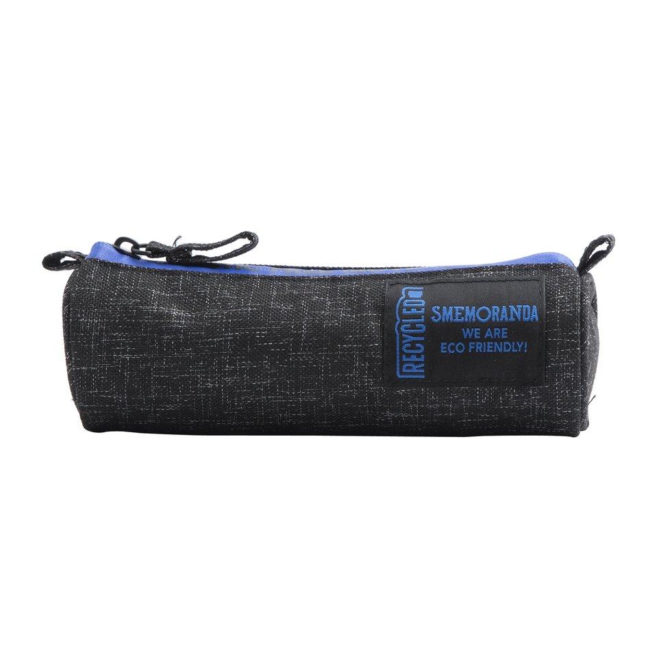 Astuccio mini ECO rotondo porta penne nero con zip blu