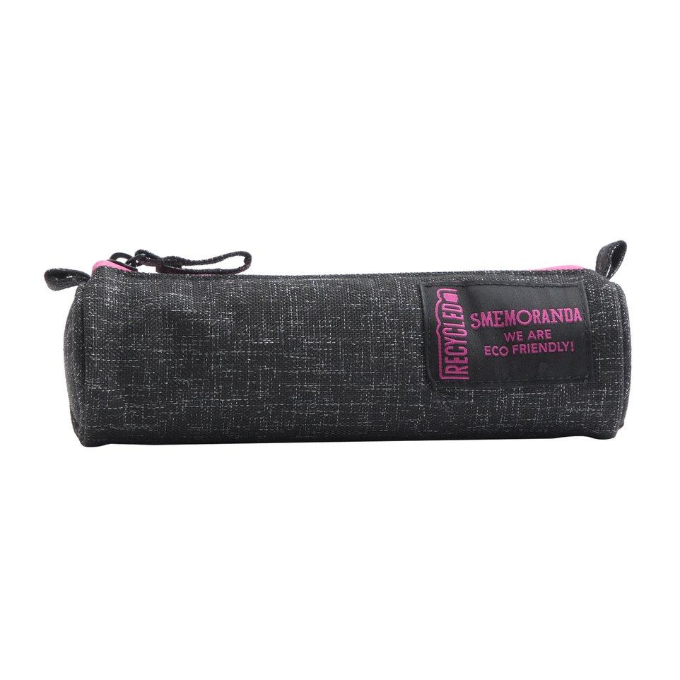 Astuccio mini ECO rotondo porta penne nero con zip fucsia