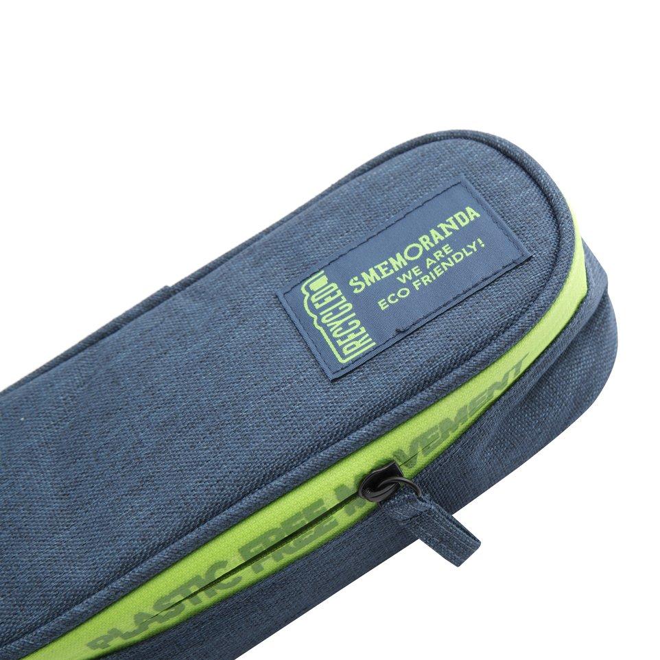 Astuccio ECO rigido blu con zip verde, coperchio e portapenne interno