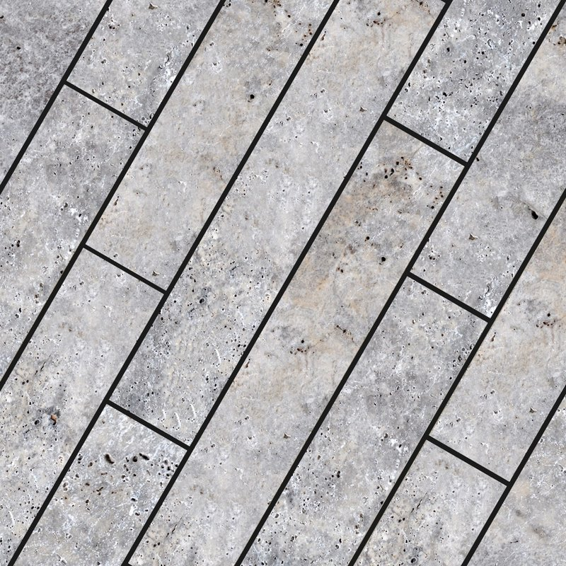 Pewter Sawn Natural Travertine Planks (900x150 Packs) - Pewter