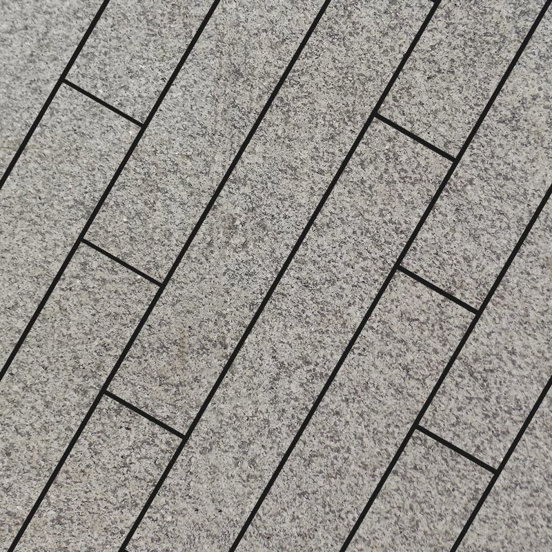 Light Grey Sawn & Flamed Natural Granite Planks - Light Grey