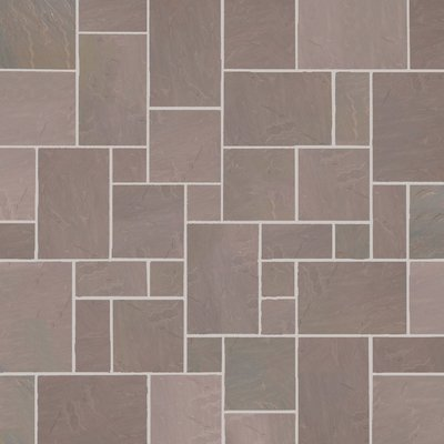 Autumn Brown Hand Cut Natural Sandstone Paving (Mixed Size Packs)