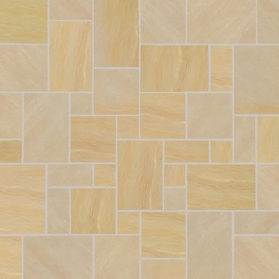 Mint Fossil Tumbled Natural Sandstone Paving (Mixed Size Packs)