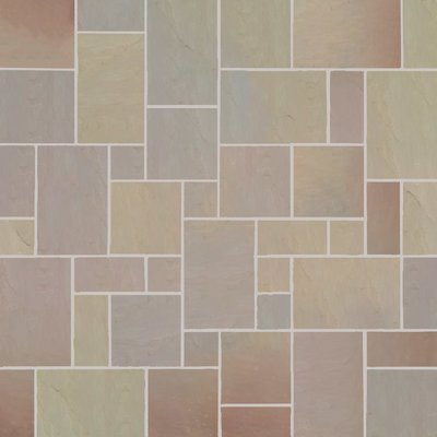 Autumn Gold Tumbled Natural Sandstone Paving (Mixed Size Packs)
