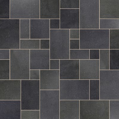 Emperor Black Sawn & Flamed Natural Granite Paving (Mixed Size Packs)