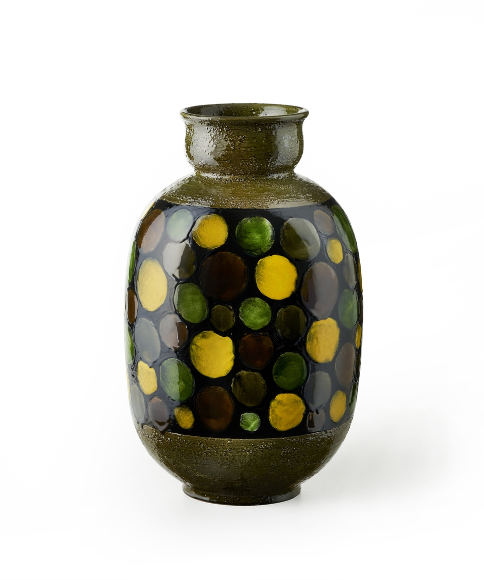 GREEN VASE WITH CIRCLES ON BLACK BAND RE-EDITION HISTORICAL ARCHIVE ALDO LONDI