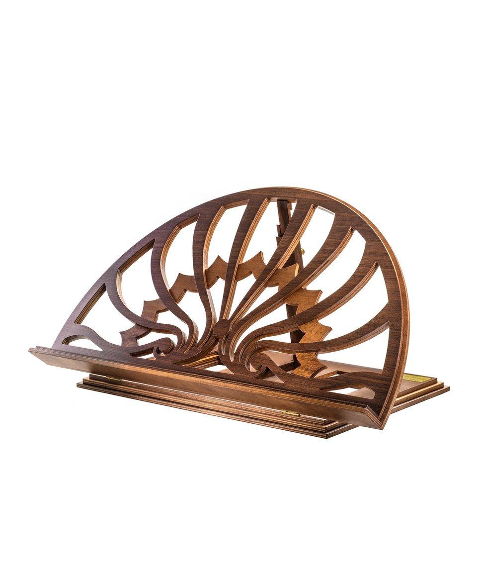 Bookstand designed by Paolo Portoghesi, walnut/eucalyptus wood