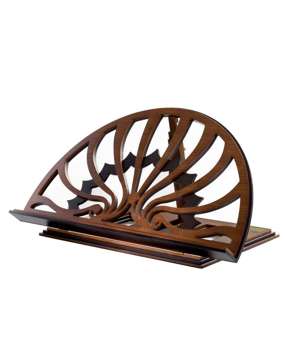 Bookstand designed by Paolo Portoghesi, tanganyka/walnut