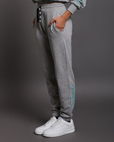 Woman cotton joggers with contrasting print - Grey