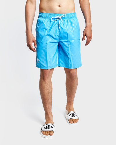 Beach short with check pattern - Sky Blue