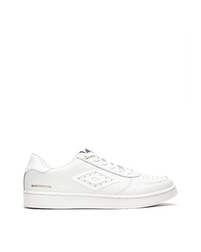 Manchester lace-up leather sneakers - White