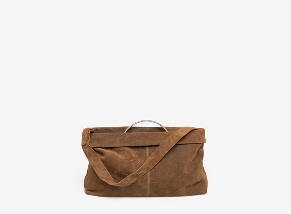 Crosta suede bag with metal handle