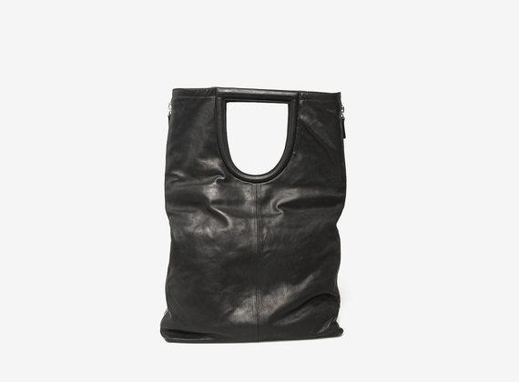 Shopping bag con maxi zip laterali
