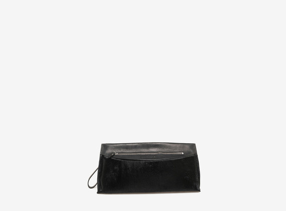 Ponyskin semi-rigid clutch bag