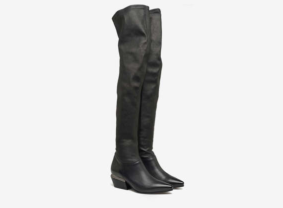 Thigh high boots with metal heel ornament