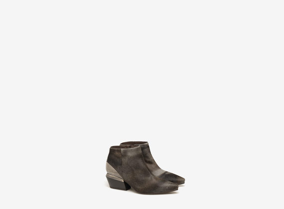 Ponyskin ankle boots with metal heel cushion