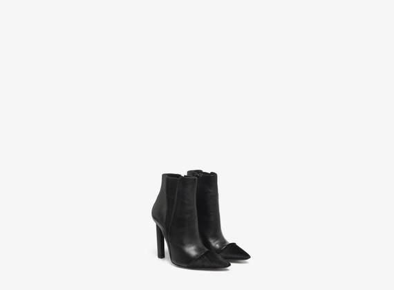 Beatle boots with ponyskin toe-cap