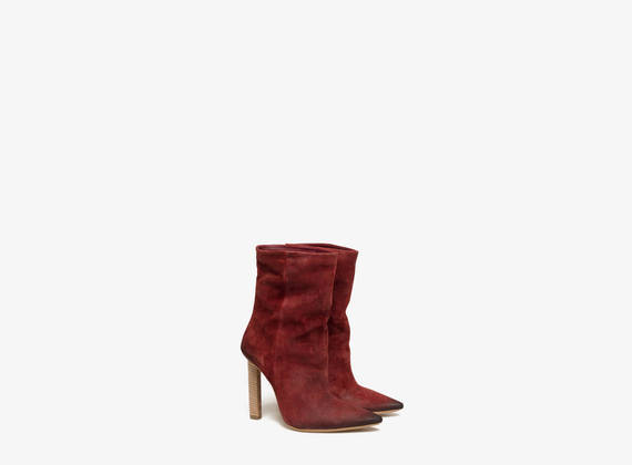 Washed crosta suede tube ankle boots