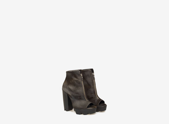 Ponyskin rounded ankle boot with central zip
