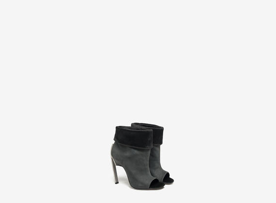 Tube ankle boot with ponyskin cuff