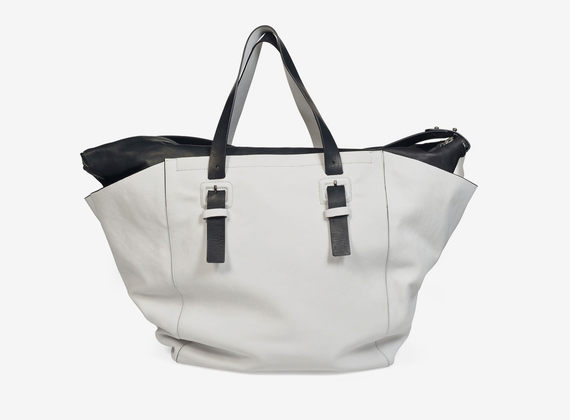 Bicolour leather large bag